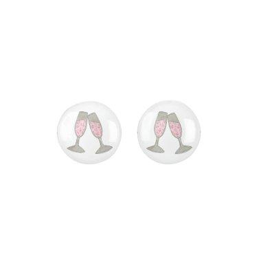 Pink Champagne Glass Bubbles Wedding  Earrings