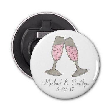 Pink Champagne Wedding Favor Custom Bottle Opener