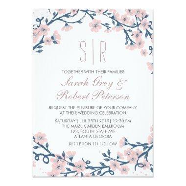 Pink Cherry Blossom Flower Wedding Invitations