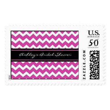 Pink Chevron  Wedding Stamps