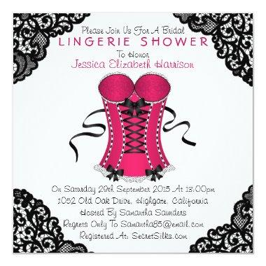d6f8ff48f58 Pink Black Bridal Shower Invitations Bridal Shower – Unique Bridal ...