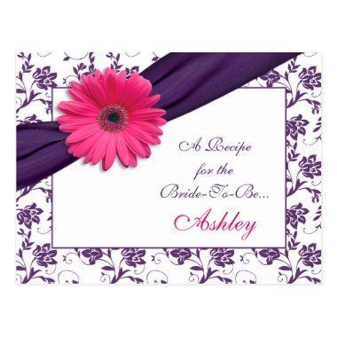 Pink Daisy Purple Damask Recipe Invitations for the Bride