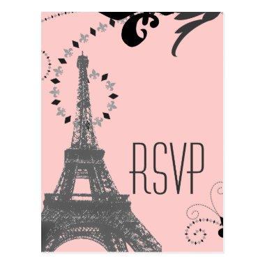 pink eiffel tower vintage paris wedding rsvp post
