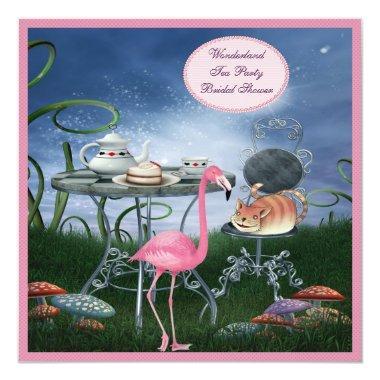 Pink Flamingo Wonderland Tea Party Bridal Shower Invitations