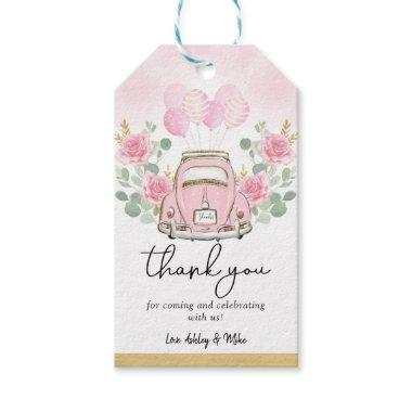 Pink Floral Adventure Vintage Car Baby Shower Gift Tags