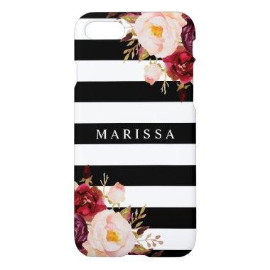 Pink Floral Black White Burgundy Marsala iPhone 8/7 Case