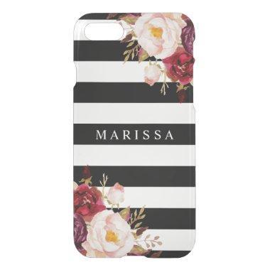 Pink Floral Black White Burgundy Marsala Red iPhone 8/7 Case