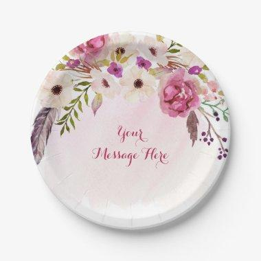 Pink Floral Boho  Paper Plate