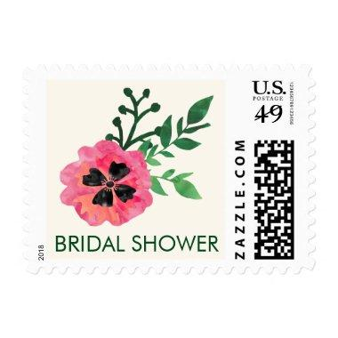 Pink Floral Bridal Shower Postage Stamps