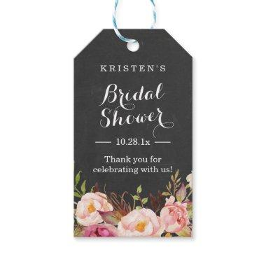 Pink Floral Chalkboard |  Thank You Gift Tags