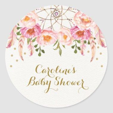 Pink Floral Dreamcatcher Shower Thank You Favors Classic Round Sticker