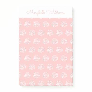 Pink Floral Flowers Personalized Notes