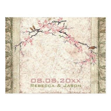 pink floral japanese cherry blossom spring wedding postInvitations