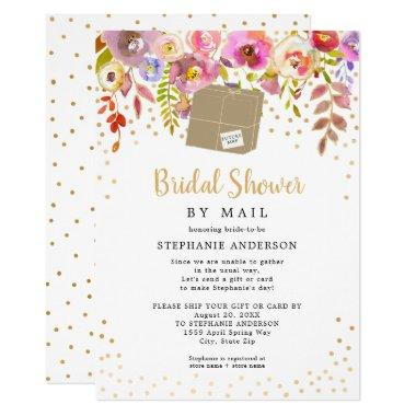 Pink Floral + shipping box Bridal Shower by mail Invitations