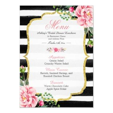 Pink Floral Stripes | Bridal Shower Luncheon Menu Invitations