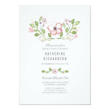 Pink Floral Watercolor Bridal Shower Invitations