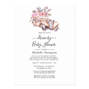 Pink Floral Watercolor Paris theme Drive By Shower PostInvitations