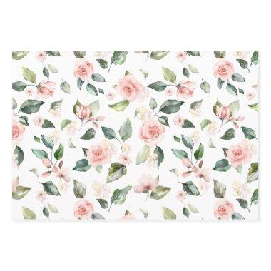 Pink floral white roses Paper Flat Sheet Set of 3