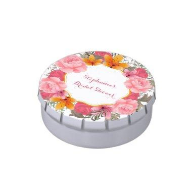 Pink Floral Wreath Candy Tin