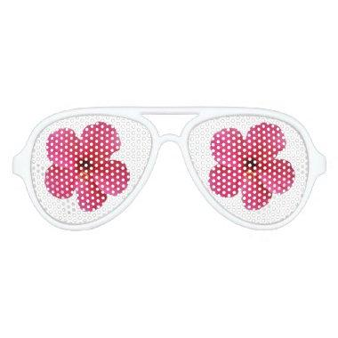 pink flower party glasses