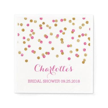 Pink Fuchsia Gold Confetti  Paper Napkin