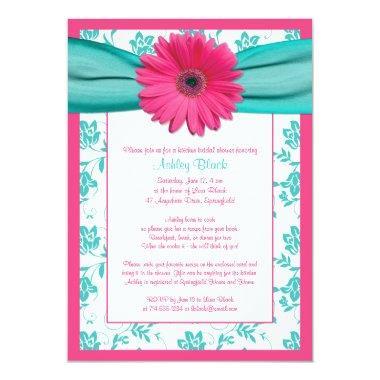 Pink Gerber Daisy Aqua Bridal Shower Invitations