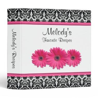 Pink Gerber Daisy Black White Damask Recipe Binder