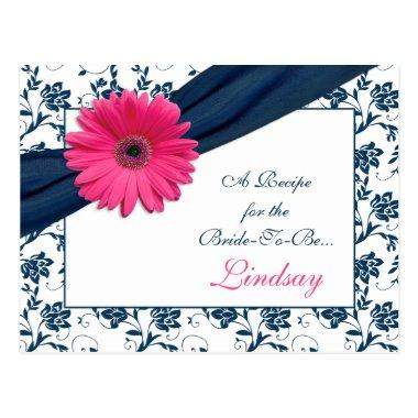 Pink Gerber Navy Damask Recipe Invitations for the Bride