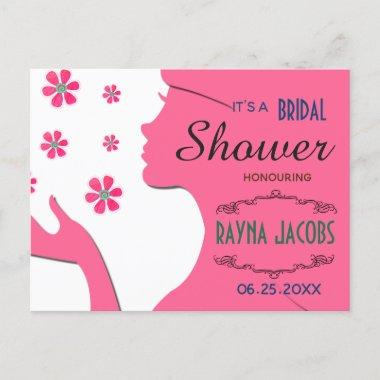 Pink Girl Silhouette With Daisies Design Invitation Post