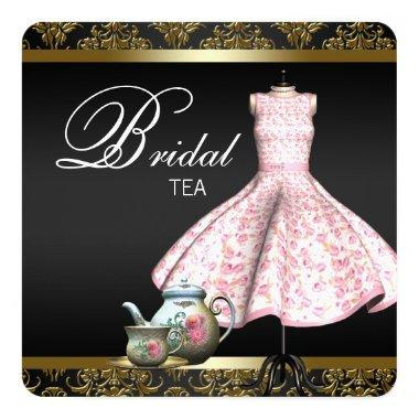 Pink Gold and Black Damask Bridal Tea Party Invitations
