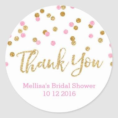 Pink Gold Confetti Bridal Shower Favor Tags