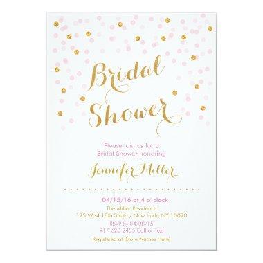 Pink & Gold Confetti Bridal Shower Invitations