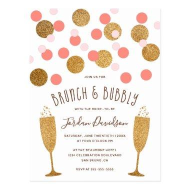 Pink & Gold Confetti Brunch & Bubbly Invites