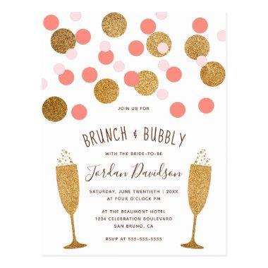 Pink & Gold Confetti Brunch & Bubbly Invites Post