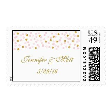 Pink & Gold Confetti Wedding Postage Stamps
