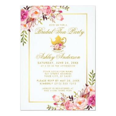 Pink Gold Floral  Tea Party Invite