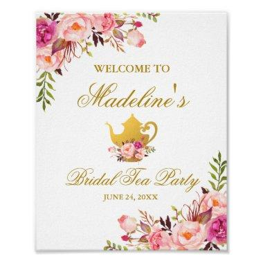 Pink Gold Floral Bridal Shower Tea Party Welcome Poster