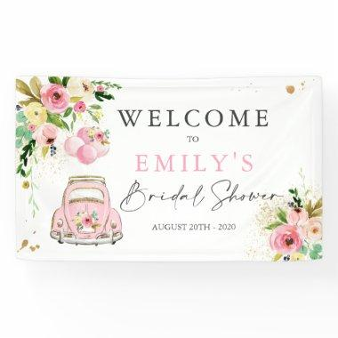 Pink & Gold Floral Drive By Bridal Shower Welcome Banner