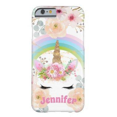 Pink Gold Glitter Unicorn Face Flowers Girls Gifts Barely There iPhone 6 Case