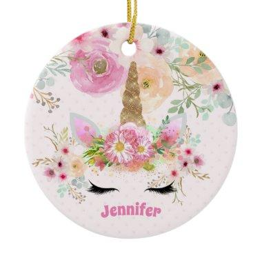 Pink Gold Glitter Unicorn Face Flowers Girls Gifts Ceramic Ornament