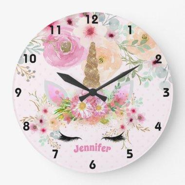 Pink Gold Glitter Unicorn Face Flowers Girls Gifts Large Clock