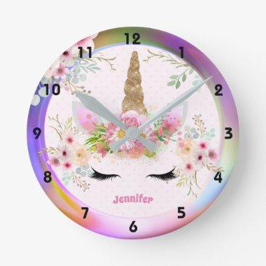 Pink Gold Glitter Unicorn Face Flowers Girls Gifts Round Clock