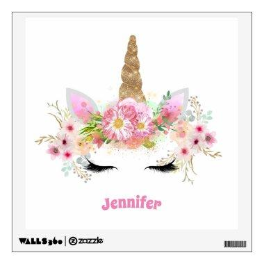 Pink Gold Glitter Unicorn Face Flowers Girls Gifts Wall Decal