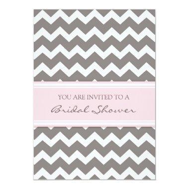 Pink Gray Chevron  Invitation