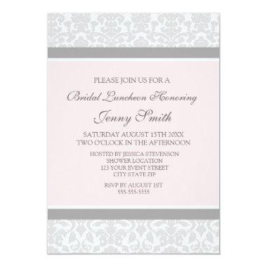 Pink Gray Damask Bridal Lunch Invitation Invitations