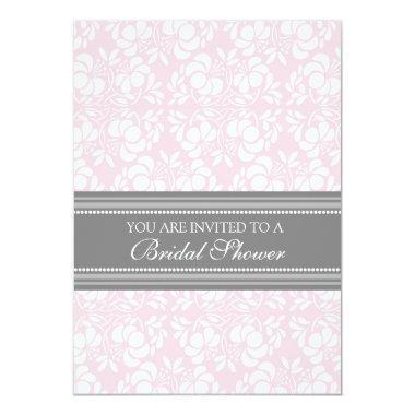 Pink Gray Damask  Invitation