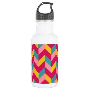 Pink Green Blue Yellow Herringbone Chevron Pattern Stainless Steel Water Bottle
