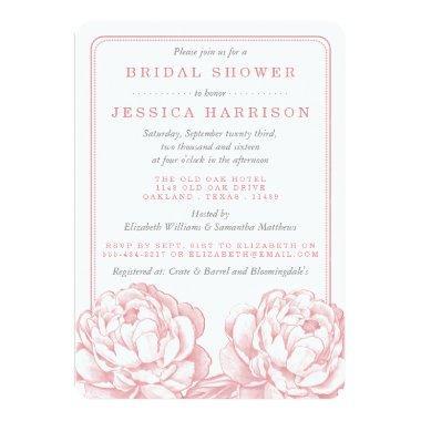 Pink & Grey Pretty Peony Floral Bridal Shower Invitations
