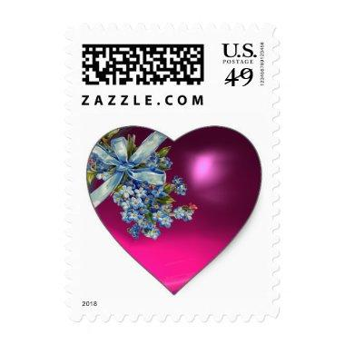 PINK HEART AND FORGET ME NOTS WEDDING PARTY POSTAGE