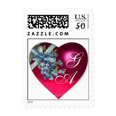 PINK HEART FORGET ME NOTS WEDDING PARTY MONOGRAM POSTAGE